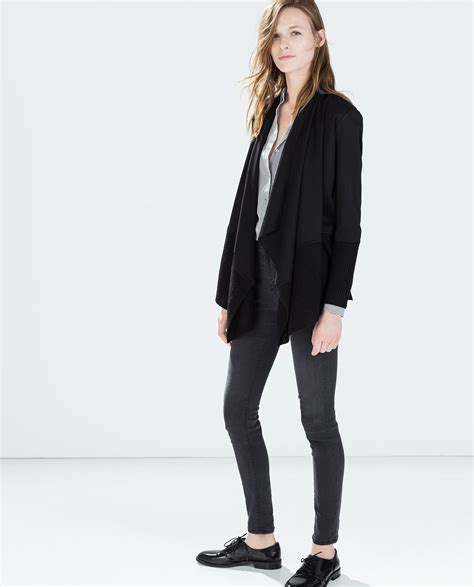 zara knit cardigan zara knit cardigan in black lyst