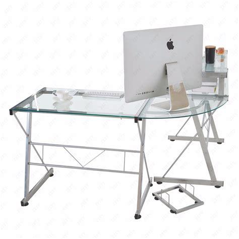 clear computer desk clear l shape computer desk pc glass laptop corner table workstation home office ebay