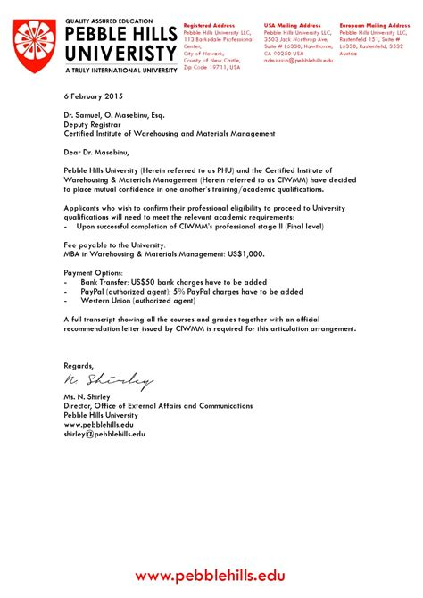 Offer Letter Canada Study Pebble And The Certified Institute Of Warehousing Materials Management