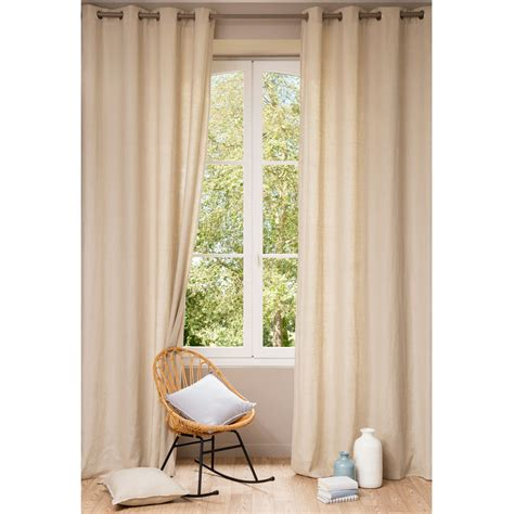 washed linen curtains washed linen eyelet curtain in beige 140 x 300cm maisons