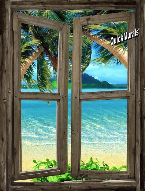 Self Stick Wall Murals beach cabin window 7 wall mural