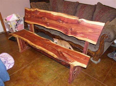 cedar log bench by buckfever14 lumberjocks com rustic weastern red cedar bench by tiny lumberjocks