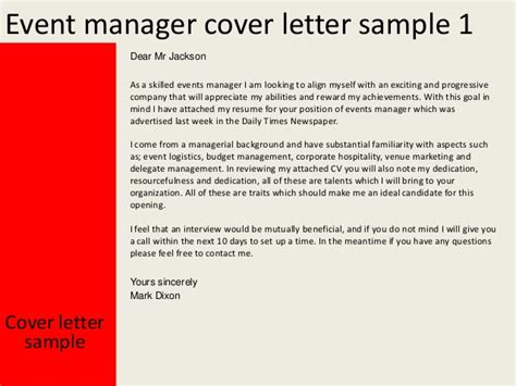 Event Management Cover Letter Event Manager Cover Letter