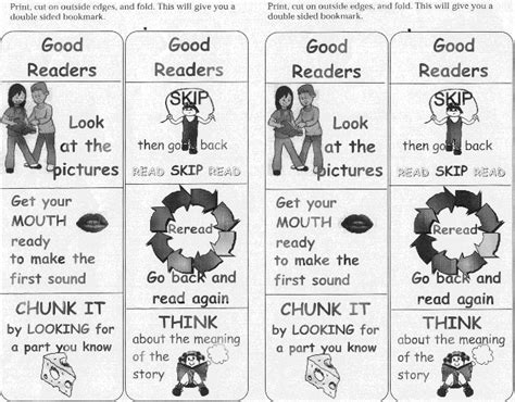 printable good reader bookmarks reading skills mrs collins kindergarten class