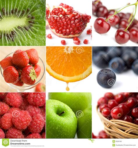 colorful fruit colorful fruit collage of nine photos stock photo image