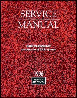 book repair manual 1994 subaru svx on board diagnostic system 1995 subaru svx repair shop manual supplement original