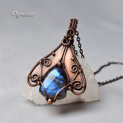 copper sheets for jewelry wire wrapped labradorite pendant on copper sheet by artual