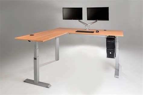 a standing desk the mod e pro electric l shaped standing desk multitable