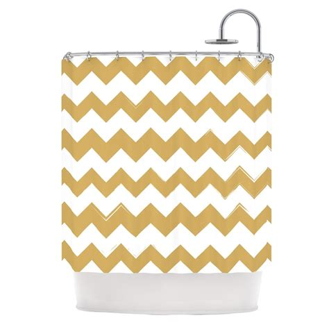 gold chevron curtains kess original quot candy cane gold quot chevron shower curtain