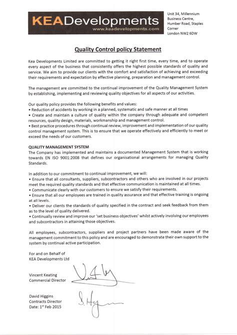 quality assurance objective statement policies kea developments