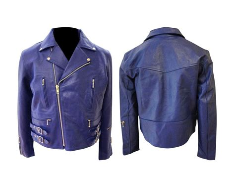 motorcycle jacket brands mens blue leather zipper biker motorcycle jacket brand new