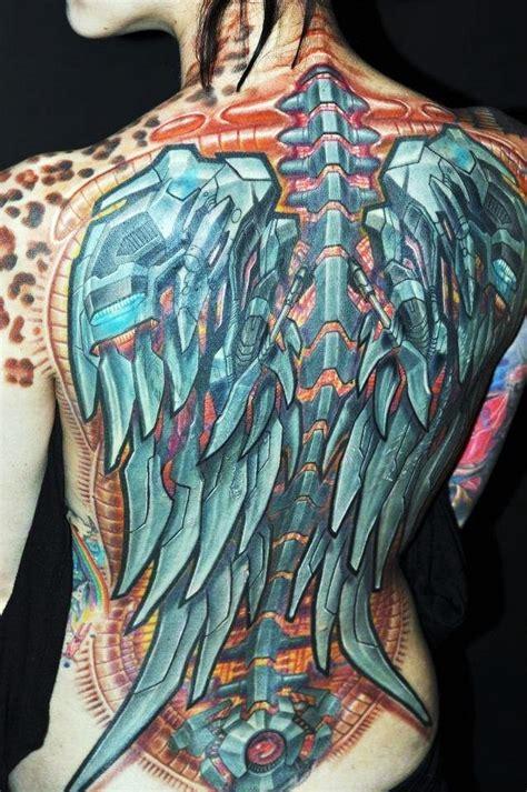 тату крыльев в стиле биомеханика татуировки татушка