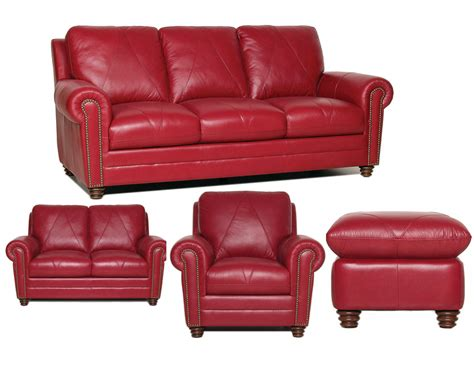 4 piece leather sectional sofa luke leather weston 4 piece red italian leather sofa set