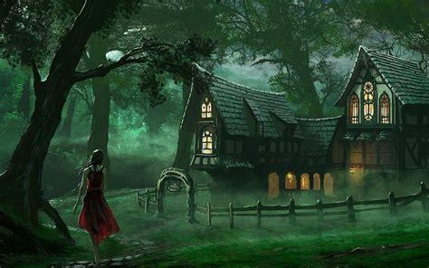fantasy houses artwork fantasy magical art forest tree landscape nature