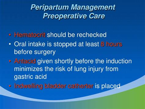 preoperative care for cesarean section ppt cesarean delivery and peripartum hysterectomy