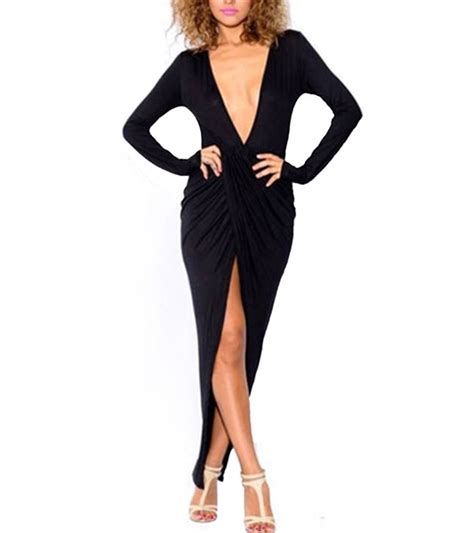 Black Plunging V Neck Wrap Maxi Dress   Emprada