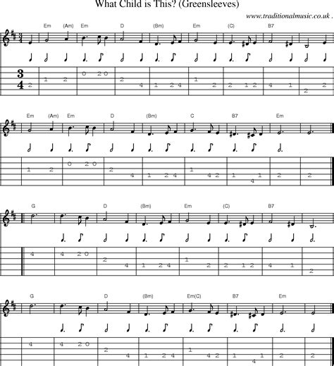 Greensleeves Guitar Chords