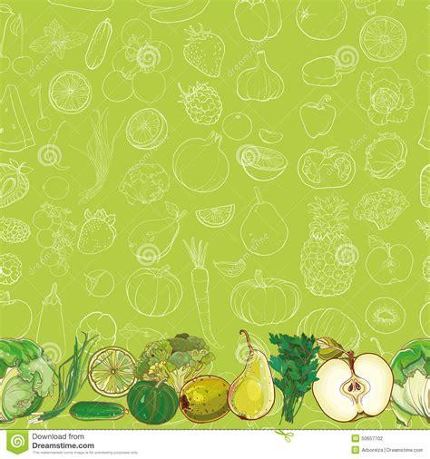 vegetables pattern wallpaper set of green fruits and vegetables on light green