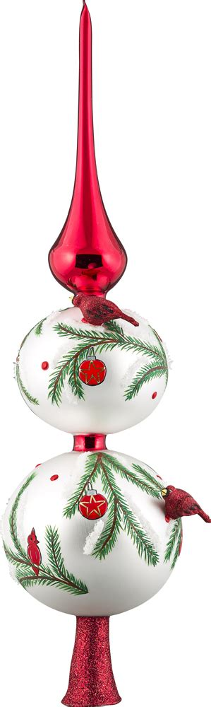 blown glass christmas tree decoration cardinal finial