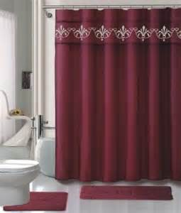 buy burgundy shower curtain set 4 set with rugs and