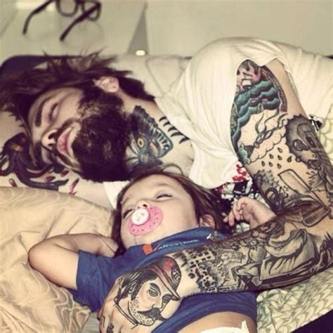 tattoo love parents bearded tattooed father and his baby beards bearded man