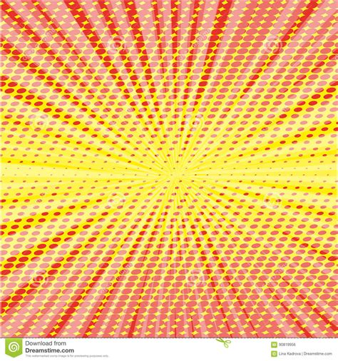 dot expression pattern pop art style halftone explosion with light rays stock