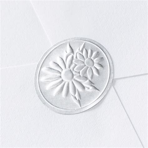 blank printable envelope seals blank silver embossed daisies seal wedding seal