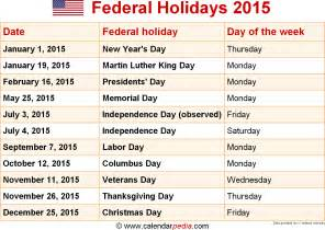 Calendar With Holidays 2015 Federal Holidays 2015