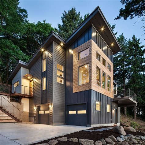 metal siding houses aluminum siding panels exterior eclectic with orange doors corrugated metal siding