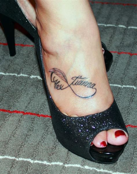 infinity tattoo on foot name on foot infinity symbol alex tianna
