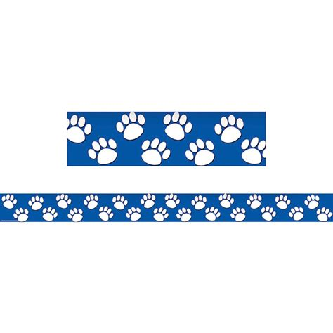 Blue With White Paw Prints Straight Border Trim Tcr4620 Paw Print Classroom Decorations