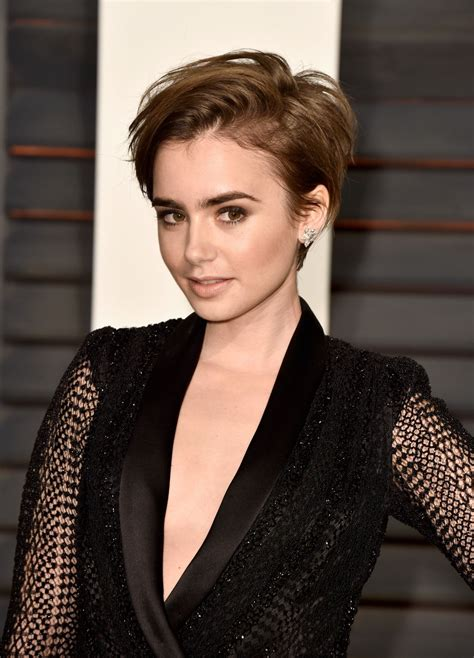 hot new hair for 2015 lily collins 2015 vanity fair oscar party in hollywood