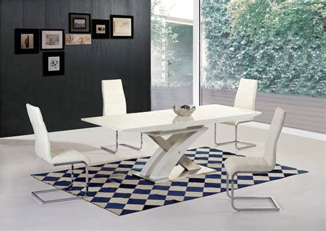 White Glass Dining Table Sets White High Gloss Glass Extending Dining Table 6 Chairs