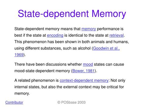 related keywords amp suggestions for state dependent memory