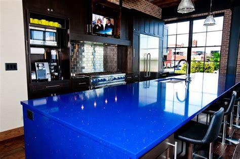 modern loft kitchen with blue quartz countertop kitchen