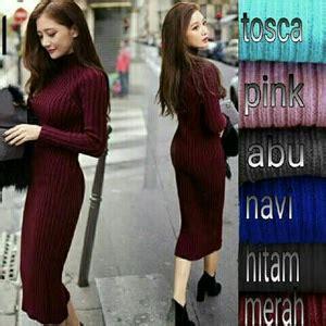 Baju Rajut Pendek baju dress pendek lengan panjang model span bahan rajut murah