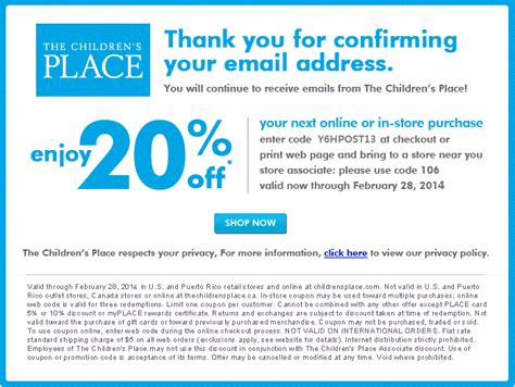 printable children s place outlet coupons the childrens place printable coupons october 2015