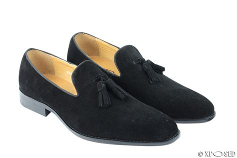 black loafer shoes mens real suede leather blue green black slip on tassel