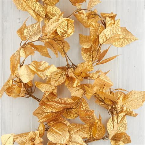 gold artificial poinsettia garland christmas garlands