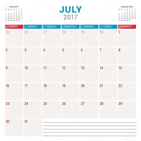 calendar planner july 2017 stock vector illustration of calendar planner for 2017 year vector design template
