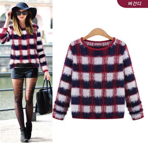 grid pattern jumper new arrival 2014 sweater grid pattern long sleeve loose