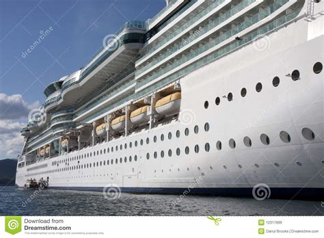 side of a ship or boat side of cruise ship from water royalty free stock images