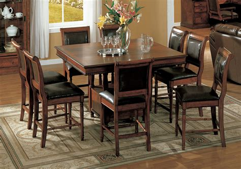 Square Bistro Table And Chairs Dining Room Square Brown Varnished Oak Pub Table Combined With Faux Leather Upholstered Chairs