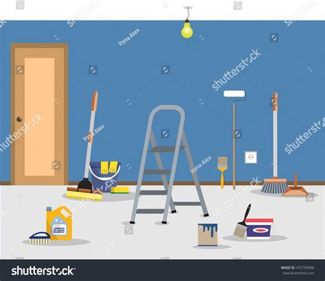 how to clean flat paint walls room repair home cleaning apartment after stock vector