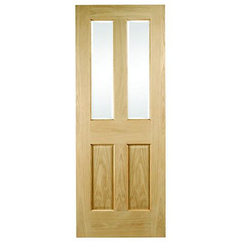 Wicks Interior Doors Wickes Cobham Oak Veneer Door Glazed 4 Panel 1981 X 762mm Wickes Co Uk