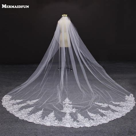 Wedding Veil by 4 Meter White Ivory One Layer Beautiful Cathedral Length