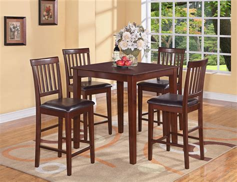 Counter Height Kitchen Tables And Chairs 5pc Vernon Square Counter Height Kitchen Table With 4 Leather Chairs Mahogany Ebay
