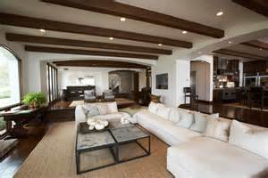 exposed wood beams ceiling transitional living room