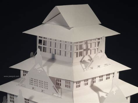 pop up card osaka template the osaka castle pop up card kirigami origamic