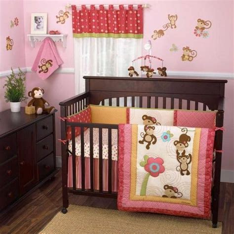 Pink Monkey Crib Bedding Sets Colorful Pink Monkey Baby Nursery Floral Print Discount Crib Bed